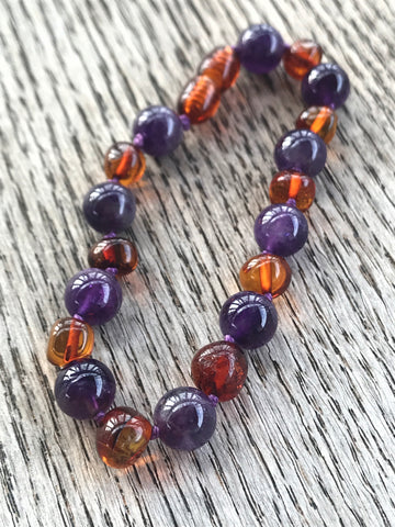 Adult Baltic amber and gemstone bracelet