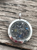 Filled round stainless locket pendant