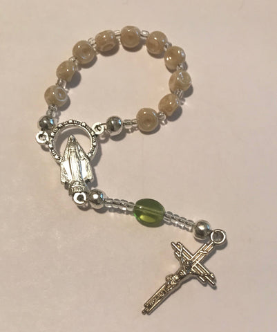 Finger Rosary: Small Beige pearl