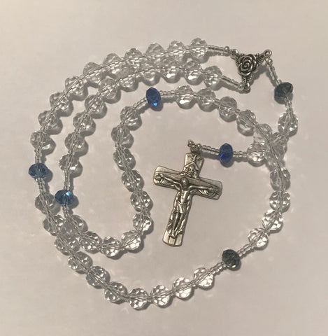 Rosary: Clear Crystal with Blue Pater Noster Beads