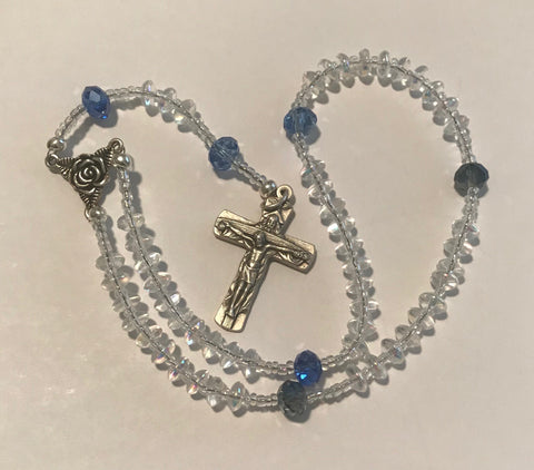 Rosary: Small beads, Aurora Borealis Crystal, Blue Pater Noster