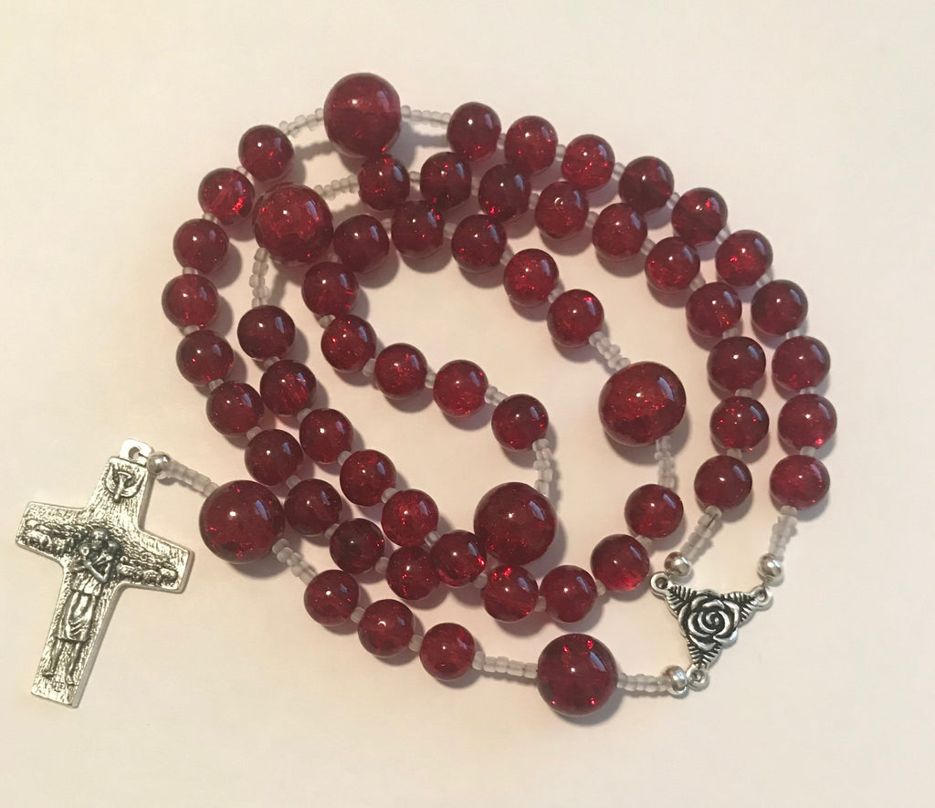Rosary: Large Red Crystal