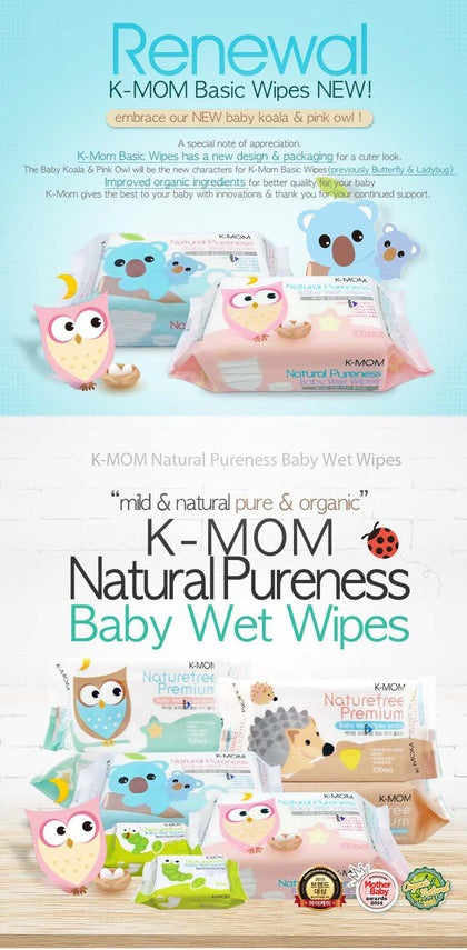 K-Mom Natural Pureness Baby Wet Wipes 100pcs x 12 Packs + Free 10pcs Wet Tissue 4 Packs