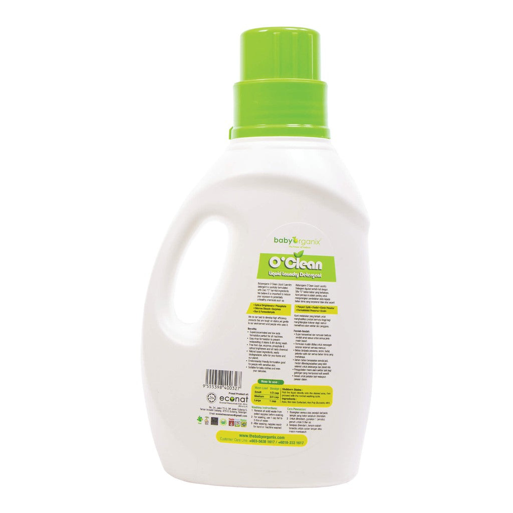 BABY ORGANIX O'CLEAN LIQUID LAUNDRY DETERGENT