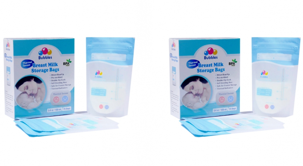 BUBBLES-Thermal Sensor Double Ziplock Breastmilk Bags 3.4oz (25pcs) & Bundle Pack  Direct heat in warmer control temperature
