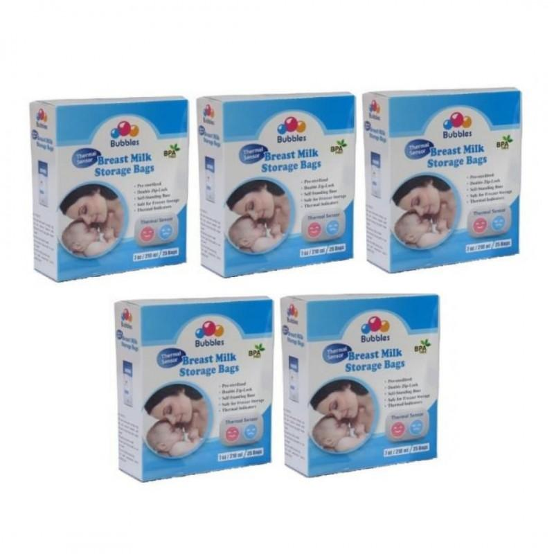 BUBBLES-Thermal Sensor Double Ziplock Breastmilk Bags 7oz (25pcs) & Bundle Pack  Direct heat in warmer control temperature