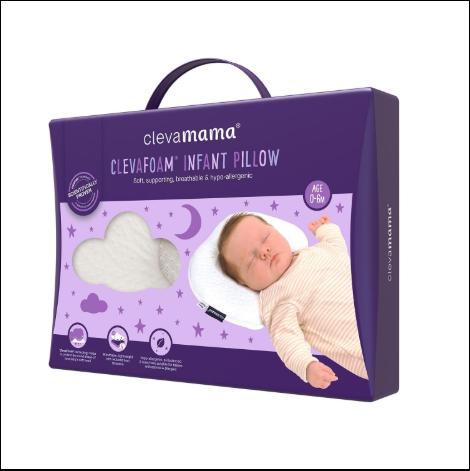 CLEVAMAMA CLEVAFOAM INFANT PILLOW WHITE COTTON/ 100% Original/ Hot Selling| PILLOW|CLEVAMAMA - HALOMAMA.com