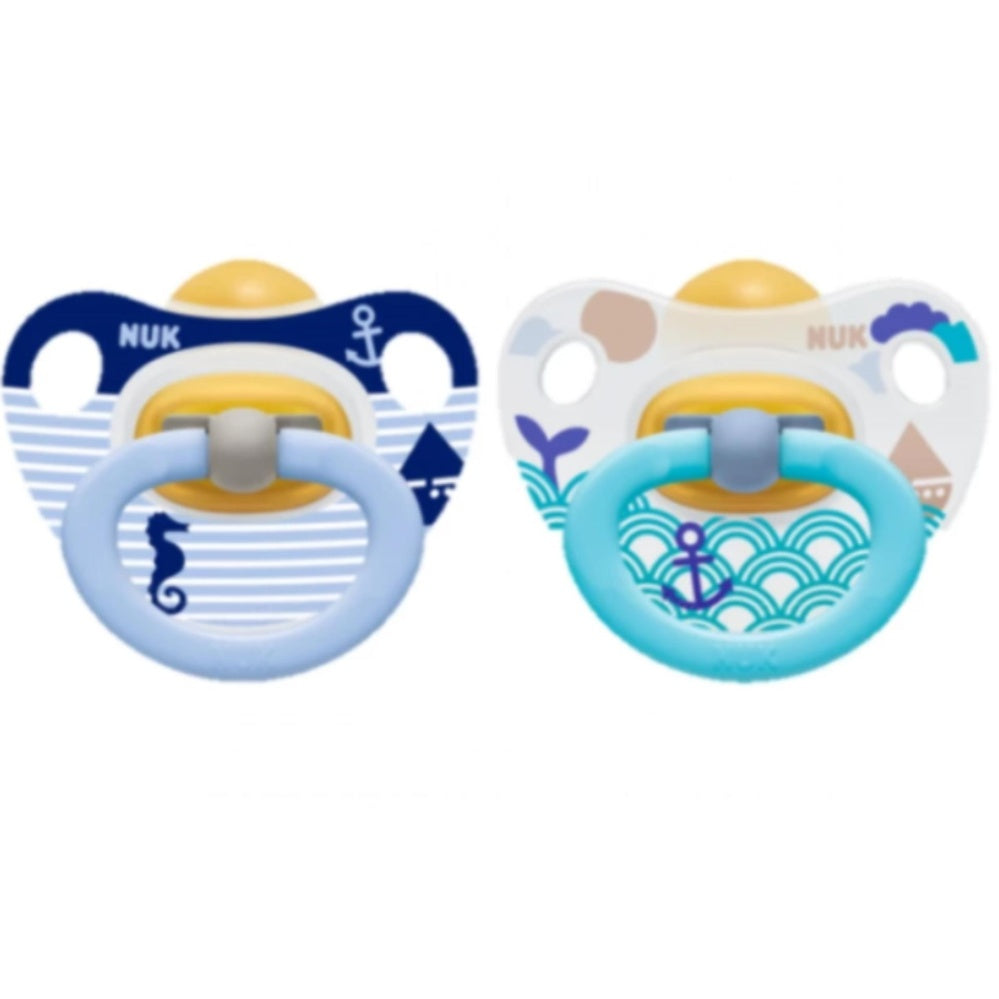 NUK Printed Latex Soother size 3 w/ Cover - 2 pcs./card| teether|Halomama - HALOMAMA.com