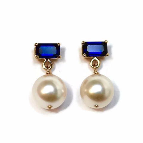 Jessica Sapphire & Pearl Drop Earrings