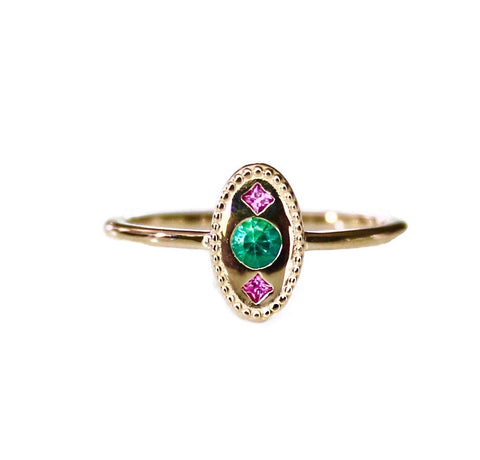 Emerald Open Leaf Ring
