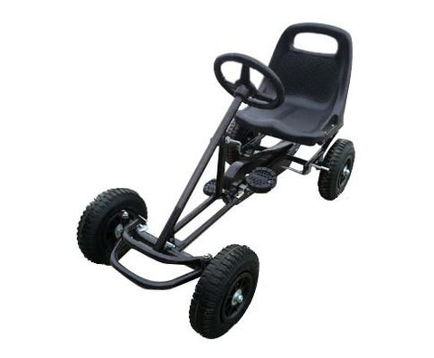 Pedal Powered Black Color Racing Go Kart for Kids - WalkBye