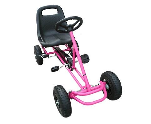 Pedal Powered Pink Color Racing Go Kart for Kids - WalkBye