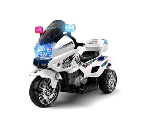 Kids White Ride on Motorbike - WalkBye