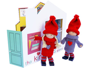 The Kindness Elves™ Set: Red & Grey | Light Wood