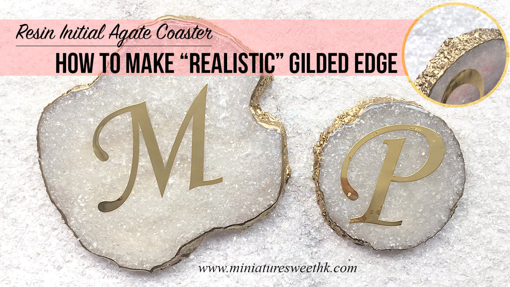 "Resin initial agate coaster tutorial: How to make ""realistic"" gilded edge"