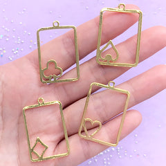 Playing Card Open Bezels | Poker Deco Frame for UV Resin Filling | Alice in Wonderland Jewelry Making (4 pcs / Gold / 22mm x 34mm)