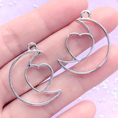 Moon and Heart Open Bezel Charm | Kawaii Deco Frame for UV Resin Filling | Resin Jewellery Making (2 pcs / Silver / 22mm x 29mm)