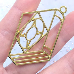 Black Magic Book Open Bezel Charm | Mahou Kei Deco Frame for Resin Craft | Magical Girl Jewelry Making (1 piece / Gold / 30mm x 50mm)