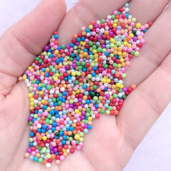 Miniature Rainbow Gumball | Colorful Bubblegum for Fake Food DIY | Faux Sugar Pearl Toppings | Dollhouse Dragee Sprinkles (Mix / 7g)