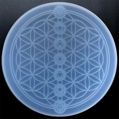 Flower of Life and Seven Chakras Crystal Grid Silicone Mold | Sacred Geometry Coaster Mould | Healing Meditation Altar Decor (210mm)