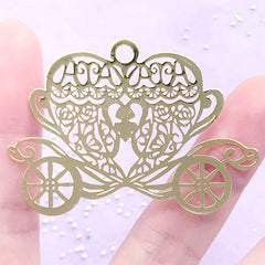 Pumpkin Carriage Metal Bookmark Charm | Fairy Tale Cinderella Deco Frame for UV Resin Filling | Kawaii Jewelry DIY (1 piece / 54mm x 38mm)