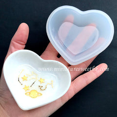 Heart Tray Silicone Mold | Personalised Trinket Dish Making | Kawaii Craft Supplies | Clear Mold for UV Resin | Epoxy Resin Art (78mm x 69mm)