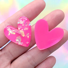 Heart Resin Cabochon with Glitter Flakes | Glittery Decoden Embellishment | Kawaii Crafts (3 pcs / Dark Pink / 27mm x 27mm)