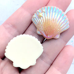 Rainbow Aura Shell Resin Cabochon | Iridescent Seashell Embellishments | Kawaii Mermaid Decoden Supplies (4 pcs / Mix / 28mm x 24mm)
