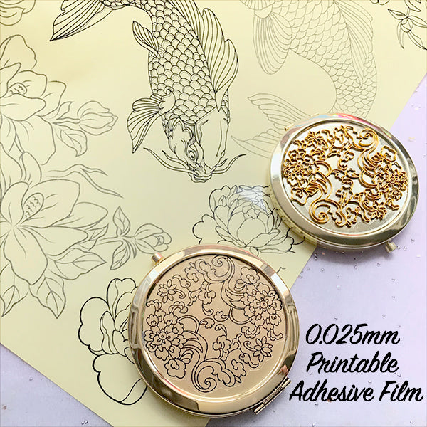 Transparent Printable Adhesive Film Sheet at 0.025mm Thickness for Inkjet Printer and Laser Printer | Stickers Making | Image Tracing for Cloisonne Art (A4 Size / 5 pcs)