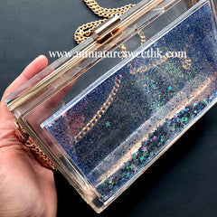 Rectangular Shaker Clutch Bag Silicone Mold with Findings | Fancy Rectangle Clear Handbag DIY | Kawaii Resin Craft Supplies (20cm x 12cm)