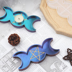 Dianic Wicca Trinket Dish Silicone Mold | Triple Goddess Tray Mould | Wiccan Altar Decor DIY | Moon and Star Candle Holder Making (67mm x 154mm)
