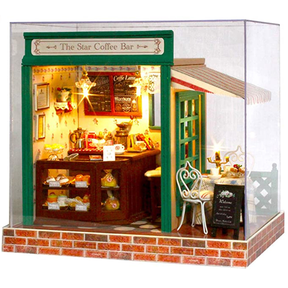 Miniature Cafe DIY Kit in 1:12 Scale | Dollhouse Star Coffee Bar | Doll House Cake Shop with Music Box
