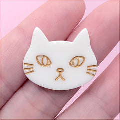 Cat Head Cabochon | Animal Resin Flatbacks | Toddler Hair Bow DIY | Kawaii Jewelry Supplies (1 Piece / White / 25mm x 21mm)