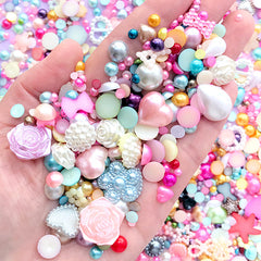 Kawaii Pearl Assortment in Various Shapes and Sizes | Pearlised Flower Bow Heart Cabochons | Fake Pearls (20 grams / Colorful Mix)