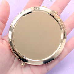Compact Mirror | Round Foldable Handheld Makeup Mirror Case | Resin Art Supplies (Gold / 7cm)