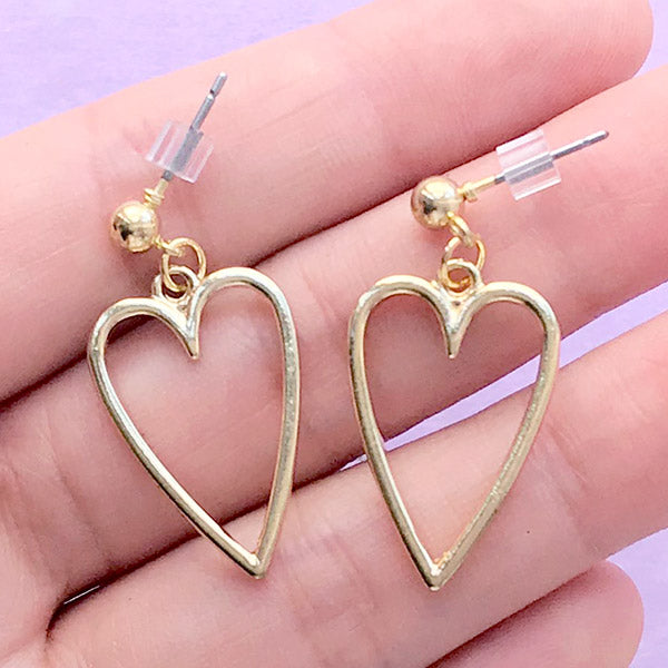Dangle Earrings with Heart Deco Frame for UV Resin Filling | Kawaii Jewelry with Heart Open Bezel (1 pair / Gold / 15mm x 22mm)