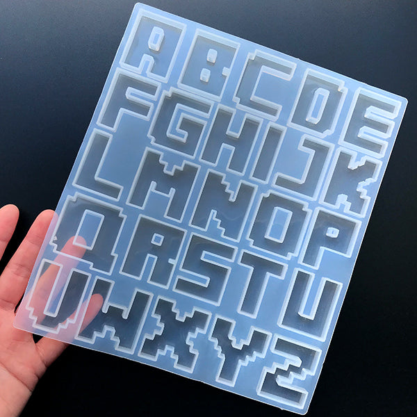 Pixel Alphabet Silicone Mold (26 Cavity) | Large Capital Letters Mold | Big Uppercase Letter A to Z Mold | Resin Mould Supplies (38mm)