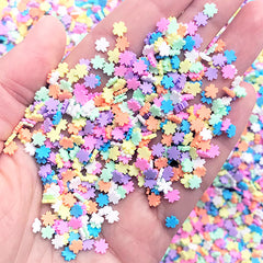Sakura Cherry Blossom Confetti | Fake Sprinkles | Rainbow Polymer Clay Toppings for Faux Food Craft | Resin Embellishments (5 grams)