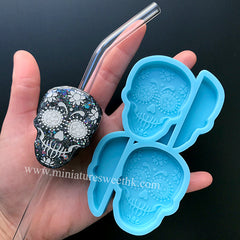 Calavera Straw Topper Silicone Mold | Skull Straw Topper Mould | Halloween Decoration | Epoxy Resin Art Supplies (37mm x 51mm)