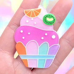 Acrylic Cupcake Cabochon with Glitter | Cute Hair Bow Center | Kawaii Decoden | Scrapbook Embellishment (1 piece / 40mm x 55mm)