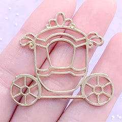 Carriage Open Bezel Charm for UV Resin Filling | Fairytale Deco Frame | Kawaii Princess Jewelry Supplies (1 piece / Gold / 40mm x 36mm)