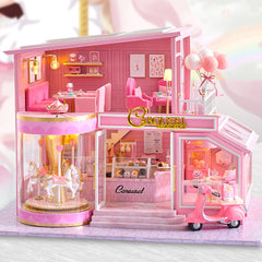 Dollhouse Cake Boutique Making Kit in 1:24 Scale | Carousel Restaurant Childhood Memories | Pink Girly Cafe | Miniature Craft Supplies