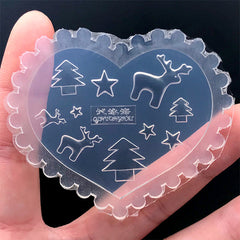 Mini Christmas Tree Reindeer and Star Silicone Mold (10 Cavity) | Festival Resin Shaker Bits Making | Holiday Embellishments DIY