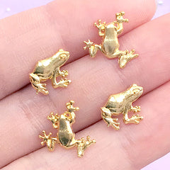 Frog Resin Fillers | Koi Pond Resin Inclusions | Small Metal Embellishments for Resin Art | Animal Floating Charms (4 pcs / Gold)