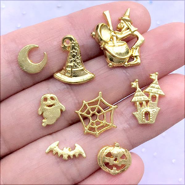 Halloween Floating Charm Assortment | Assorted Resin Inclusions | Spooky Embellishments | Kawaii Goth Jewelry Supplies (8 pcs / Gold)
