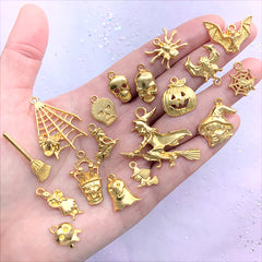 Halloween Charm Assortment | Assorted Bat Pumpkin Witch Spider Skull Skeleton Ghost Charms | Kawaii Goth Jewelry Supplies (18 pcs / Gold)