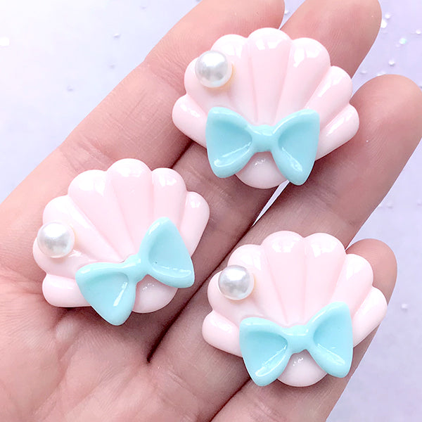 Scalloped Seashell Cabochons | Sea Shell with Bow | Decoden Phone Case DIY | Kawaii Jewellery Supplies (3 pcs / Baby Pink / 30mm x 25mm)