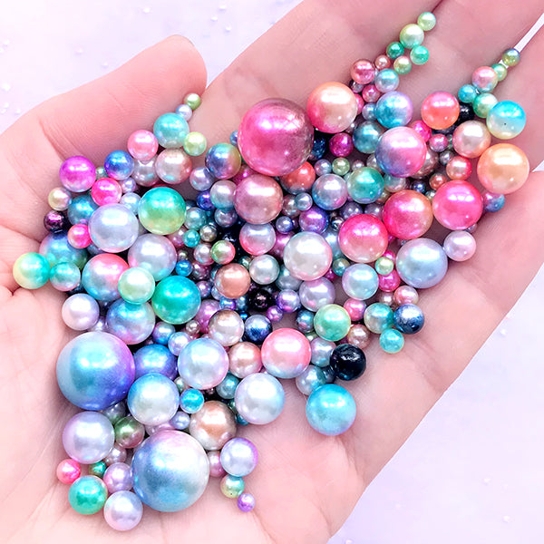 Unicorn Pearls in Rainbow Gradient Color | Colorful Mermaid Pearls in Various Sizes | Kawaii Embellishments | ABS Round Pearls with No Hole (2.5mm to 12mm / 10 grams)