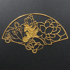 Lotus Hand Fan Metal Bookmark Charm | Flower Deco Frame for UV Resin Filling | Oriental Open Bezel (1 piece / 69mm x 41mm)