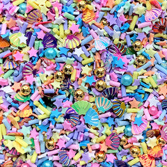 Rainbow Unicorn Sprinkles with Sugar Pearls and Seashell Confetti for Faux Food DIY | Fake Toppings | Kawaii Craft Supplies (Mix / 10 grams)